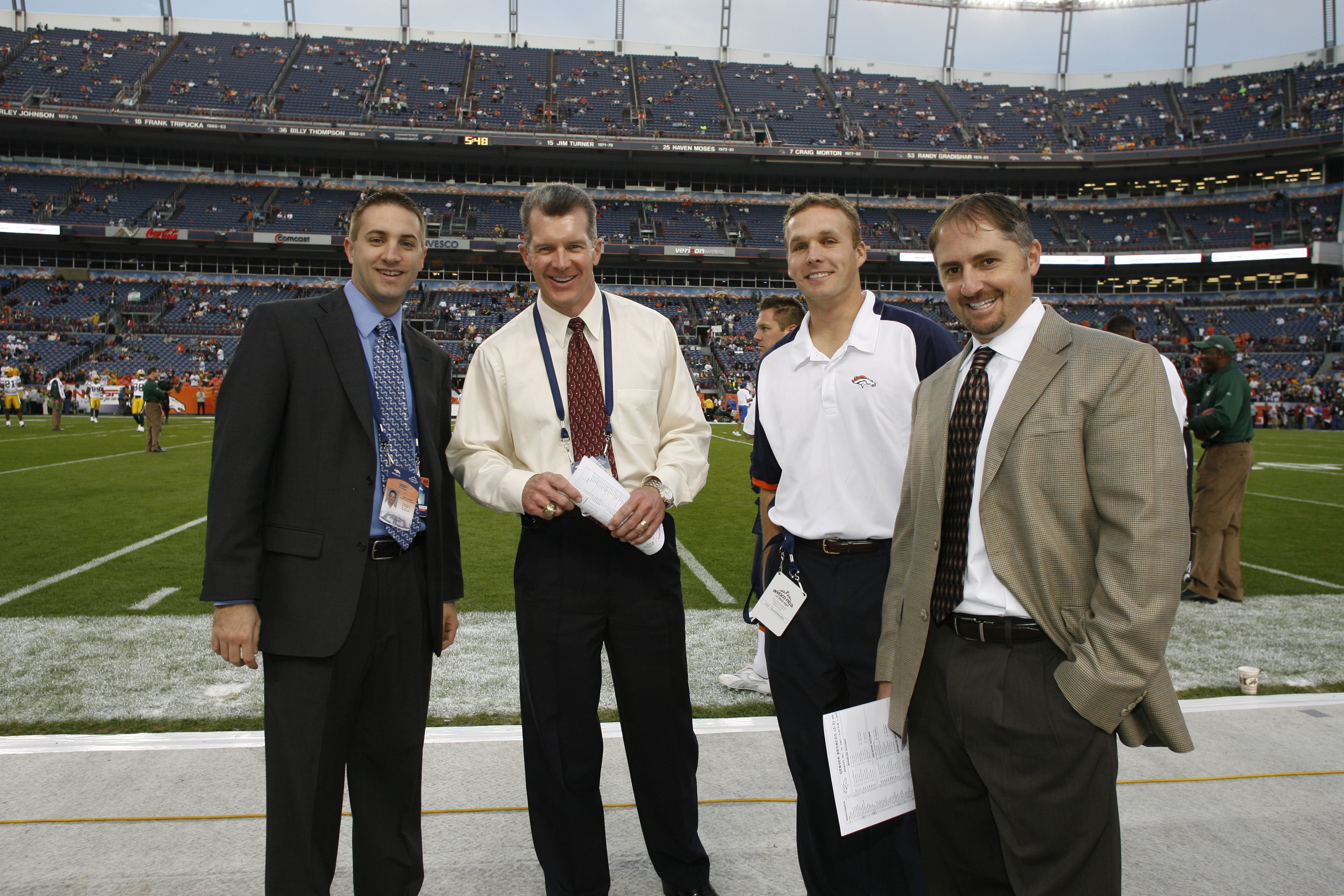 Denver Broncos personnel staff. L to R: Mike Bluem, Ted Sunquist, Dave Bratten and Chris Trulove.
