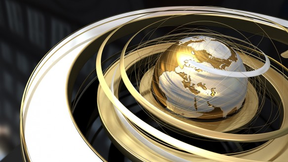 Abstract image of a world globe with spiral orbit in golden text