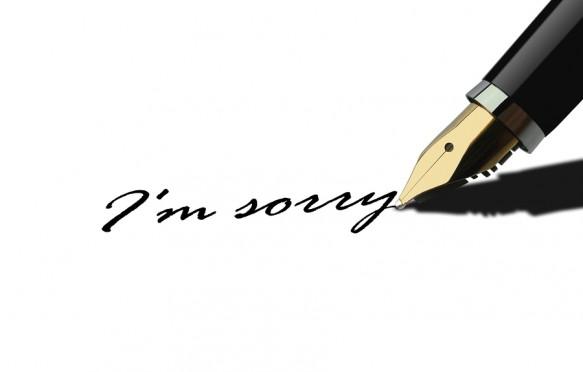 Pen writing I am sorry