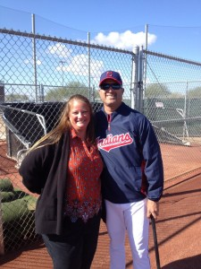 Author Rebecca Herman with Manny Acta