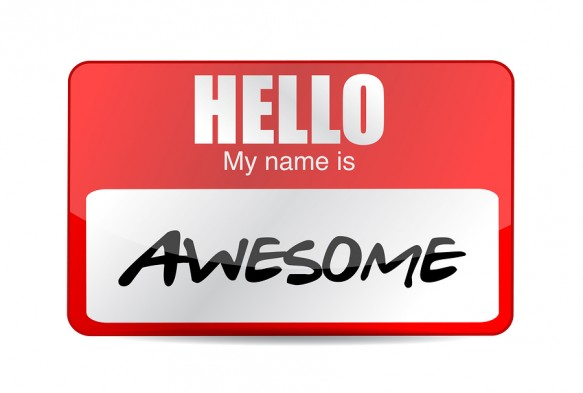 Hello I Am Awesome Tag. Illustration Design