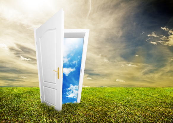 Open door to new life on the field. Hope, success, new life and