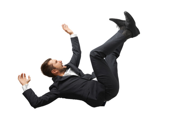 falling and screaming businessman in formal wear over white back