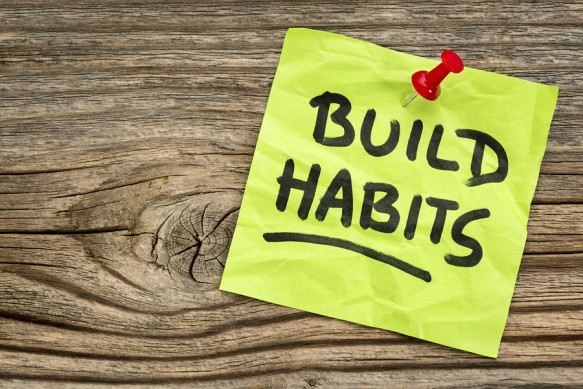 build habits reminder - self-development concept - handwriting o
