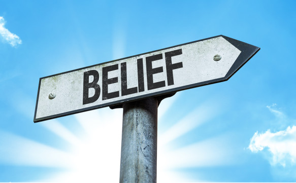 Belief sign with a beautiful day