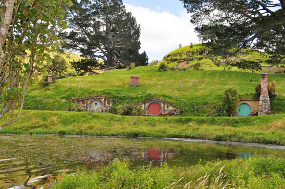 MATAMATA, NEW ZEALAND MAY 12, 2012 : Home of Hobbiton - The real Middle-Earth at the 1250 acres farmland near Matamata, a small town in the north island of New Zealand.