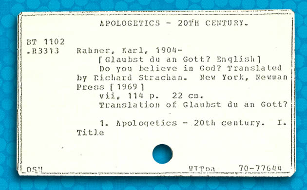 OCLC's first catalog card; Used by Permission