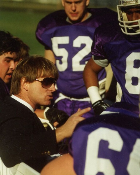 Hal Mumme coaching on the sidelines, Used by Permission