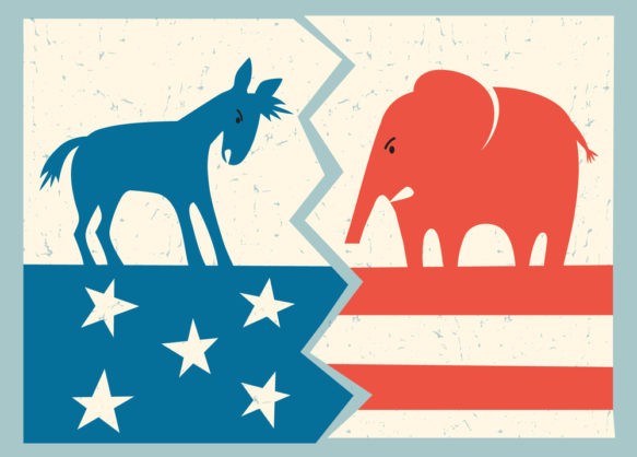 democrat donkey versus republican elephant political illustratio